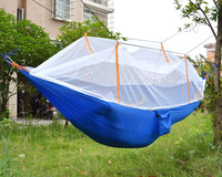 New Double Person Portable High Strength Parachute Fabric Camping Hammock Hanging Bed With Mosquito Net Sleeping