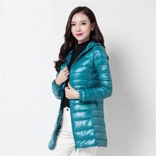 2020 New Winter Slim Women Midi Long White Duck Down Jacket Big Size Down Jacket Lady Down Coat Hooded Coats Female Jackets 403