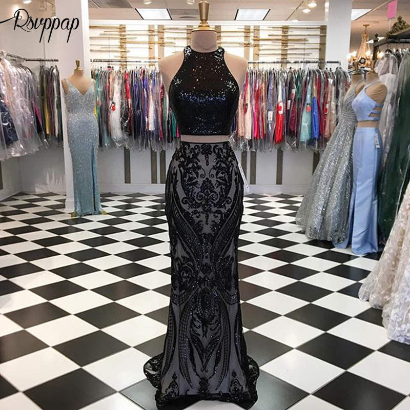 Long   Prom     Dresses   2019 Elegant Mermaid O-neck African Women Black Sequin High Quality Two Piece Party   Prom     Dress