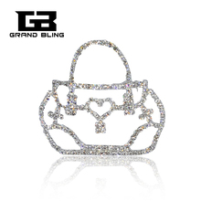 2017 Fashion Jewelry Rhinestone Bag Shape Silver Plated Brooch Pins for Suit Hats