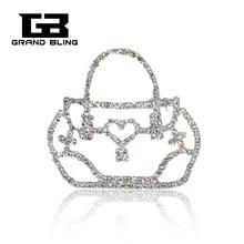 2017 Fashion Jewelry Rhinestone Bag Shape Silver Plated Brooch Pins for Suit Hats rhinestone insert ladybird shape brooch