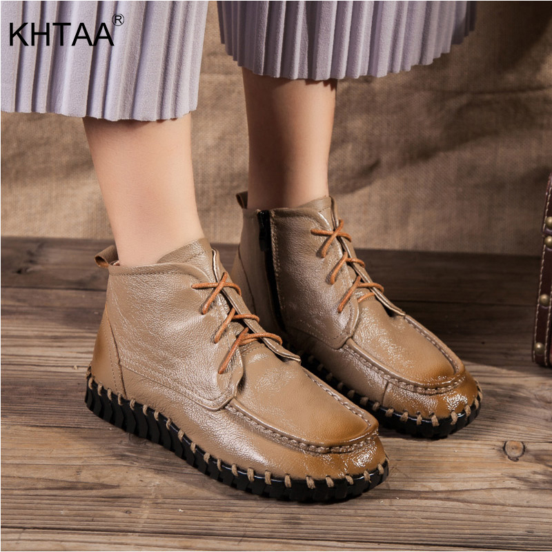 KHTAA Women Ankle Boots Lace-Up Round Toe Flat 2018 New Shoes Woman Solid Fashion Autumn Winter Soft Causal Footwear For Ladies
