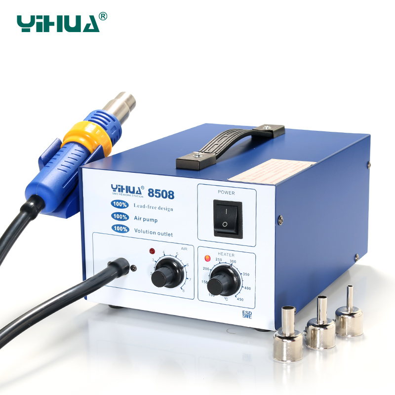 ESD Hot-Air Yihua 8508 Temperature Controlled  Air Soldering Station With Silicone Line yihua 878a 700w soldering stations portable handheld temperature controlled air soldering station welding tool