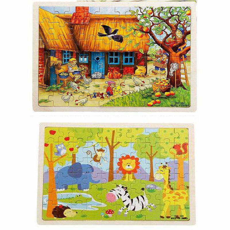 Livraison gratuite classique pour enfants Early Education 60 pièces Cartoon animal de puzzle 2pcs, enfants en bois Puzzles jouets / cadeau