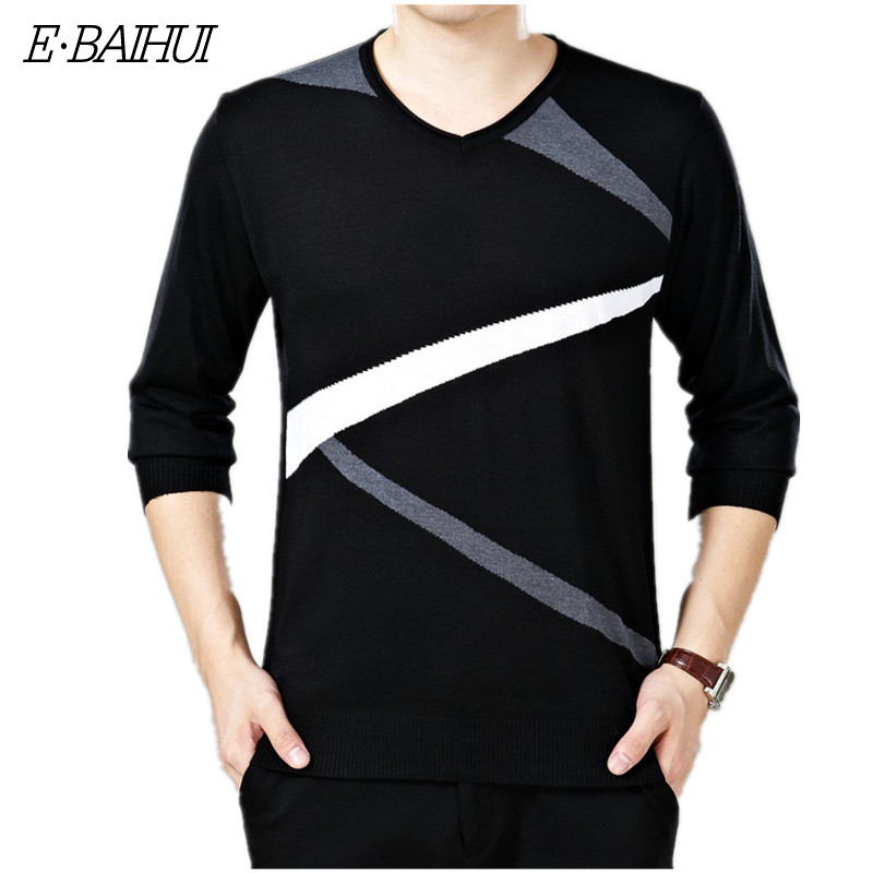 Pullover Men Sweaters Knitted O-Neck Homme Long-Sleeve Casual Fashion Solid G050 E-BAIHUI