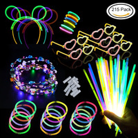 Glow Stick Party Pack Bracelets, Necklaces, Kits to Create Glasses Triple Bracelets, Headband,LED Flower Garland for Party