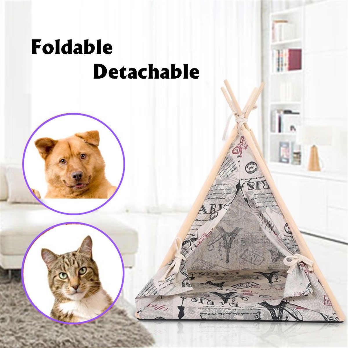 Складной льняной домик для домашних собак питомники моющаяся палатка для щенка кота для дома на открытом воздухе переносной вигвам коврик для собак 3 вида стилей 45X45X60 см