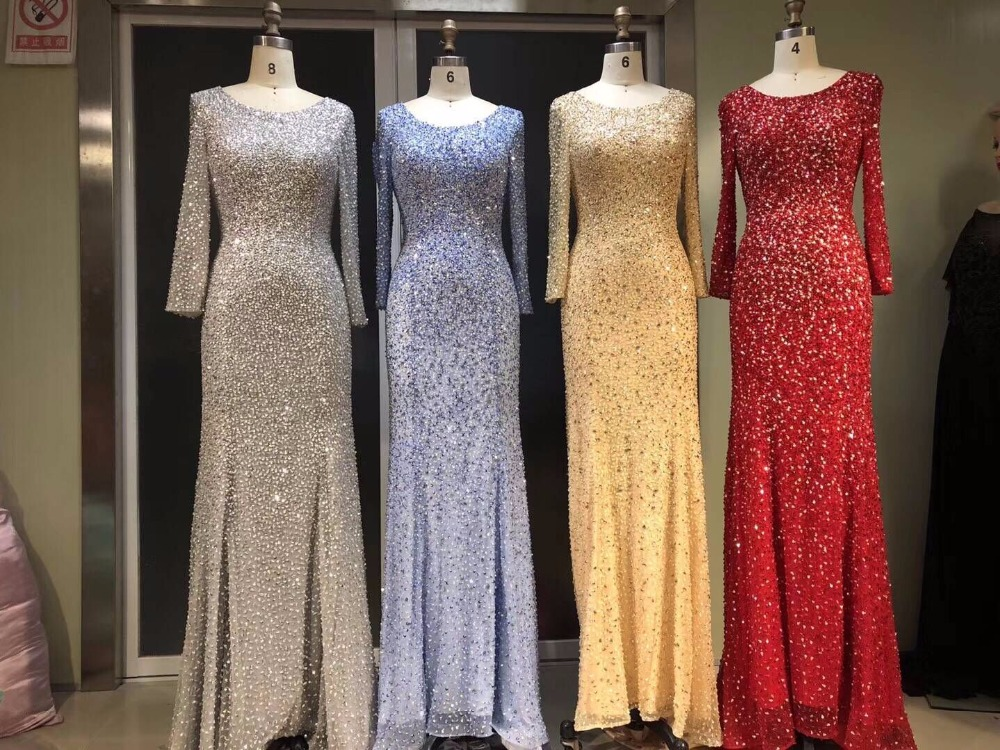2018 In stock Sexy Mermaid Long Sleeve Evening Dress Muslim Backless Crystals New Design Amazing Party gown beading Evening gown