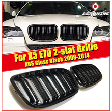 NEW Pair Glossy Black E70 X5 Front Grille grill Kidney X5M Look ABS Double Line 2 slat Bumper Grills With MC 2008-2014