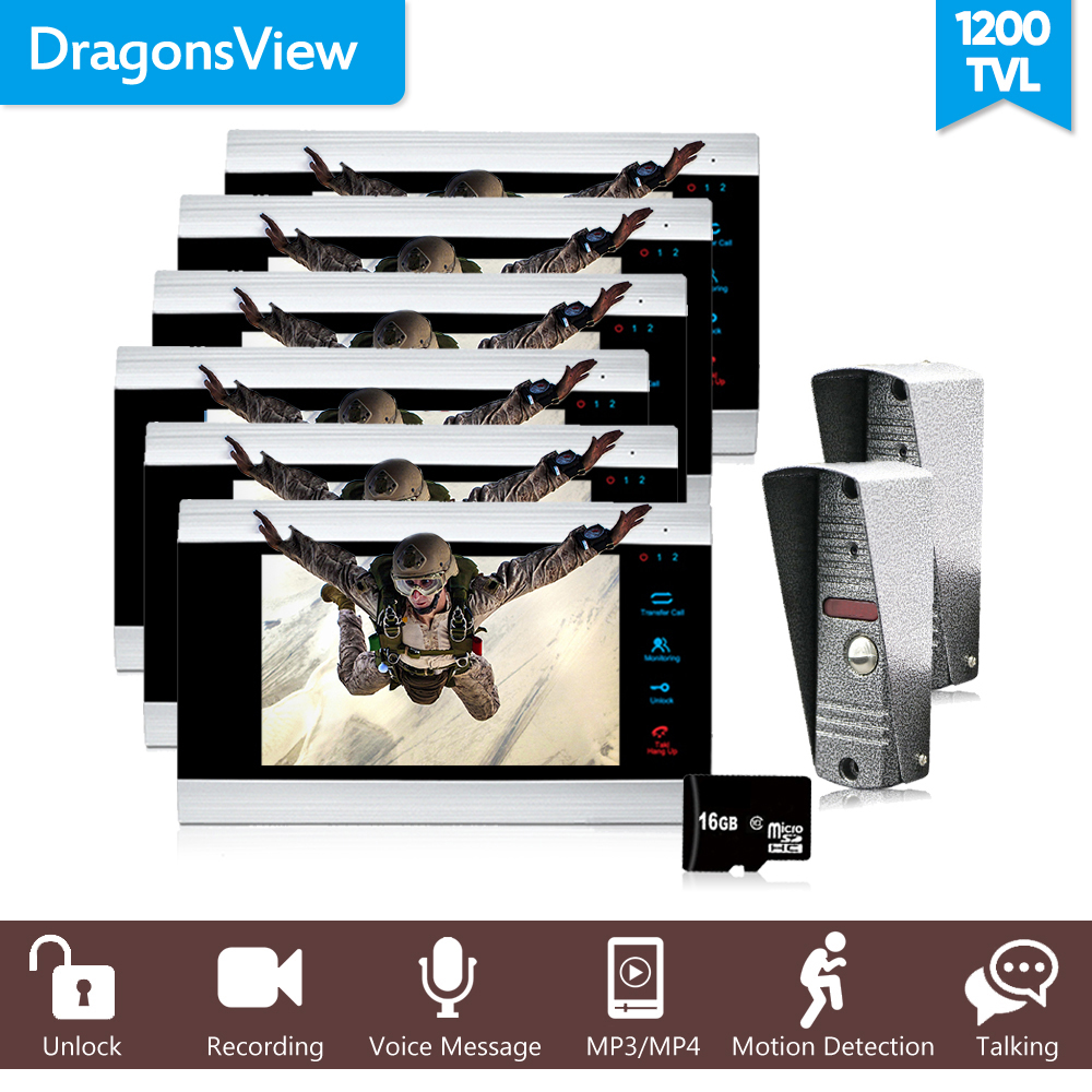 Dragonsview Multi Apartment Video Door Phone Intercom System 1200TVL SD Card Picture/Video Recording Motion Detection Alarm