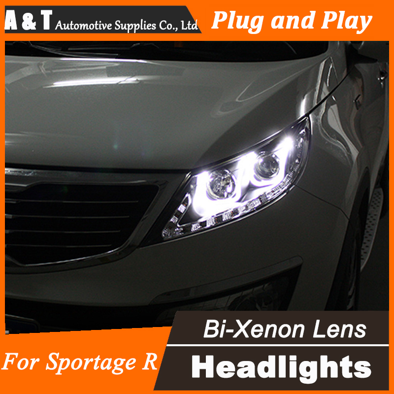Car Styling for Kia Sportage R Headlight assembly Sportage Angel Eye DRL Lens Double Beam H7 with hid kit 2 pcs. hireno headlamp for 2016 hyundai elantra headlight assembly led drl angel lens double beam hid xenon 2pcs