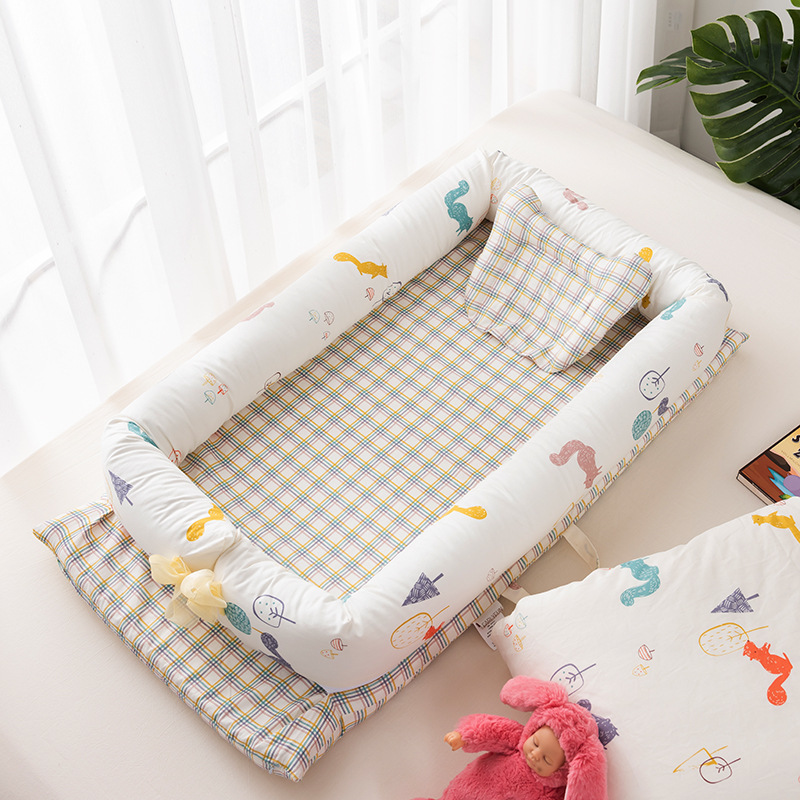 Mommyhood Cotton Portable Baby Carry Cot Travel Crib Foldable Bed Removable Sleeper Nest Disassemble Machine-Wash Moses Basket