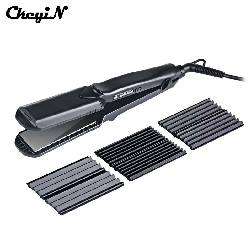 CkeyiN 4 in 1 Interchangeable Flat Iron Ceramic Hair Straightener Corrugated Curler Hair Waves Plate Curling Crimper Corn Hair 4 in 1 hair flat iron ceramic fast heating hair straightener straightening corn wide wave plate curling hair curler styling tool