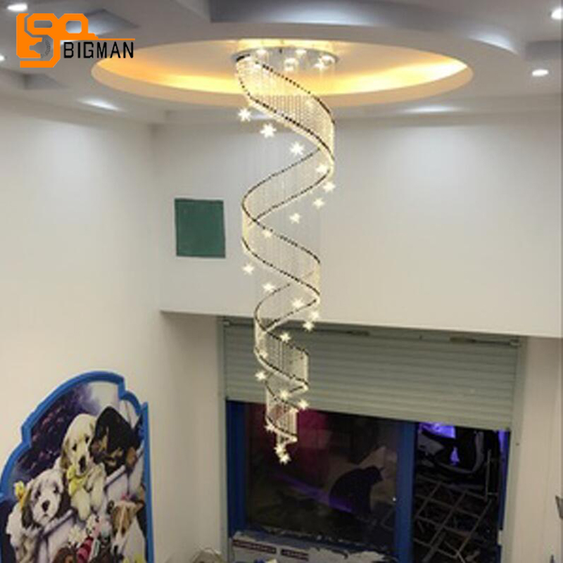 купить high quality long crystal spiral chandelier LED lamp Dia60*H250cm lustre modern staircase chandelier онлайн