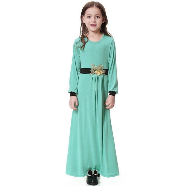 Elatic Trẻ Em quần áo Truyền Thống Thời Trang Đầm Bé Gái Hồi Giáo hồi giáo Dubai tiếng Ả Rập abaya Trẻ Em thoub jubah VKDR1330