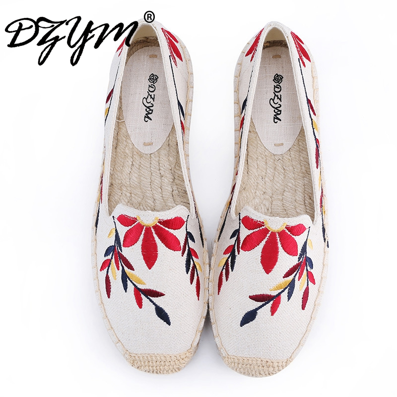 DZYM 2017 New Summer Fashion Canvas Espadrilles Women Loafers Hand-made Embroidery Flats High Quality Linen Hemp Zapatos Mujer vintage embroidery women flats chinese floral canvas embroidered shoes national old beijing cloth single dance soft flats