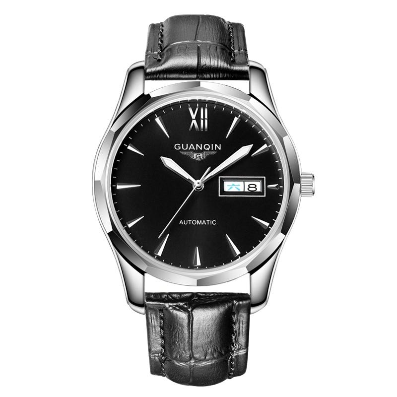 GUANQIN automatique mécanique hommes montre en acier tungstène montres lumineuses Date calendrier japonais mouvement montre avec bracelet en cuir - 3