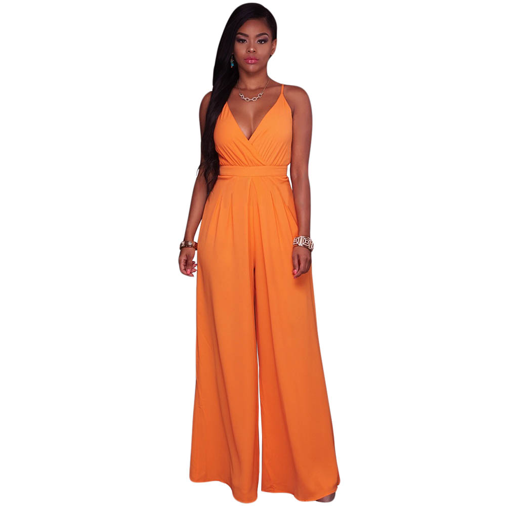 Rompers Womens Jumpsuit 2017 Summer Spaghetti Strap V neck Wide Leg Elegant Jumpsuit Ladies Office Party