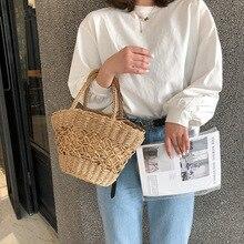 Female Straw Beach Bag Tote Bucket Crossbody Bags For Women 2019 Summer Wicker Designer Handbags Ladies Hand Rattan Shoulder Bag