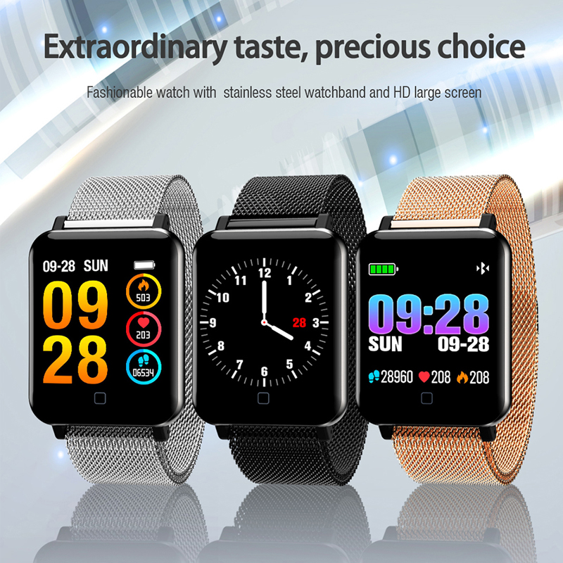 M19 HD Color Screen Smartwatch Heart Rate Monitor Smart Band Sports Mode Fitness Tracker Stainless Steel Smart Wristband WatchM19 HD Color Screen Smartwatch Heart Rate Monitor Smart Band Sports Mode Fitness Tracker Stainless Steel Smart Wristband Watch