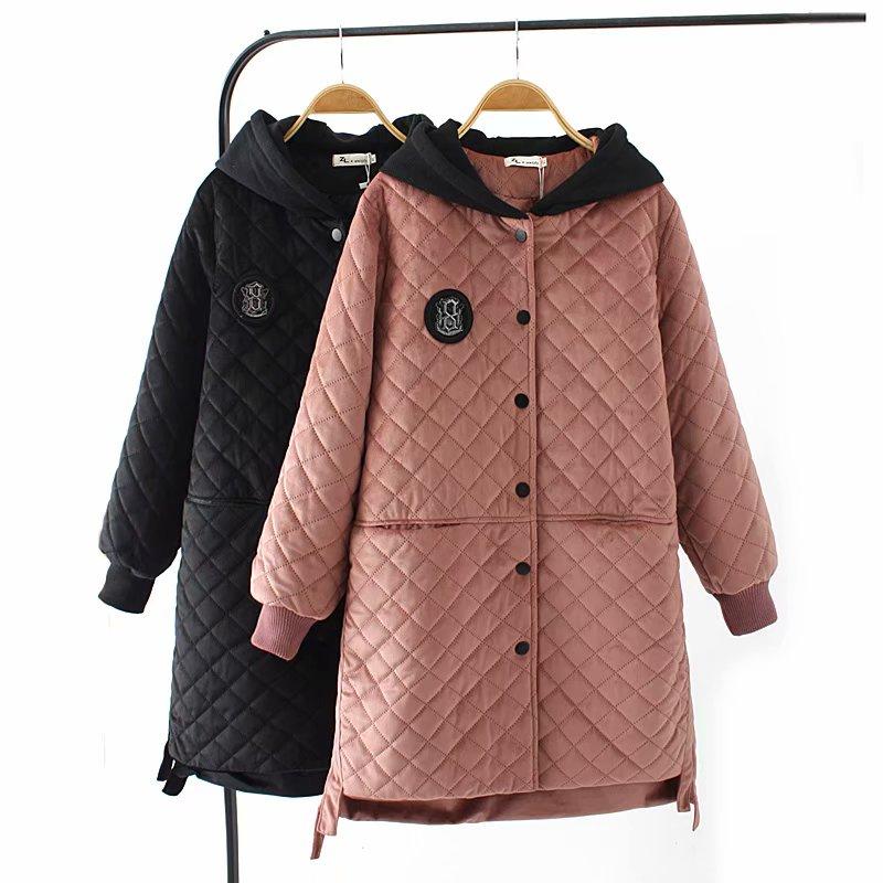 Plus size winter velour women   parka   long jackets 2018 casual ladies hooded Patch Designs Pockets black & pink warm coat female