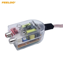 FEELDO 1PC Auto Line Out Converter Audio Sound Subwoofer Amplifier styling Car Speaker to RCA Level
