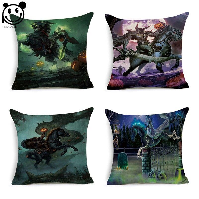 PEIYUAN Halloween Cushion Cover Pumpkin Dark Knight Horse Ghost Pillow Case Linen Square Throw Pillowcase Home Decor