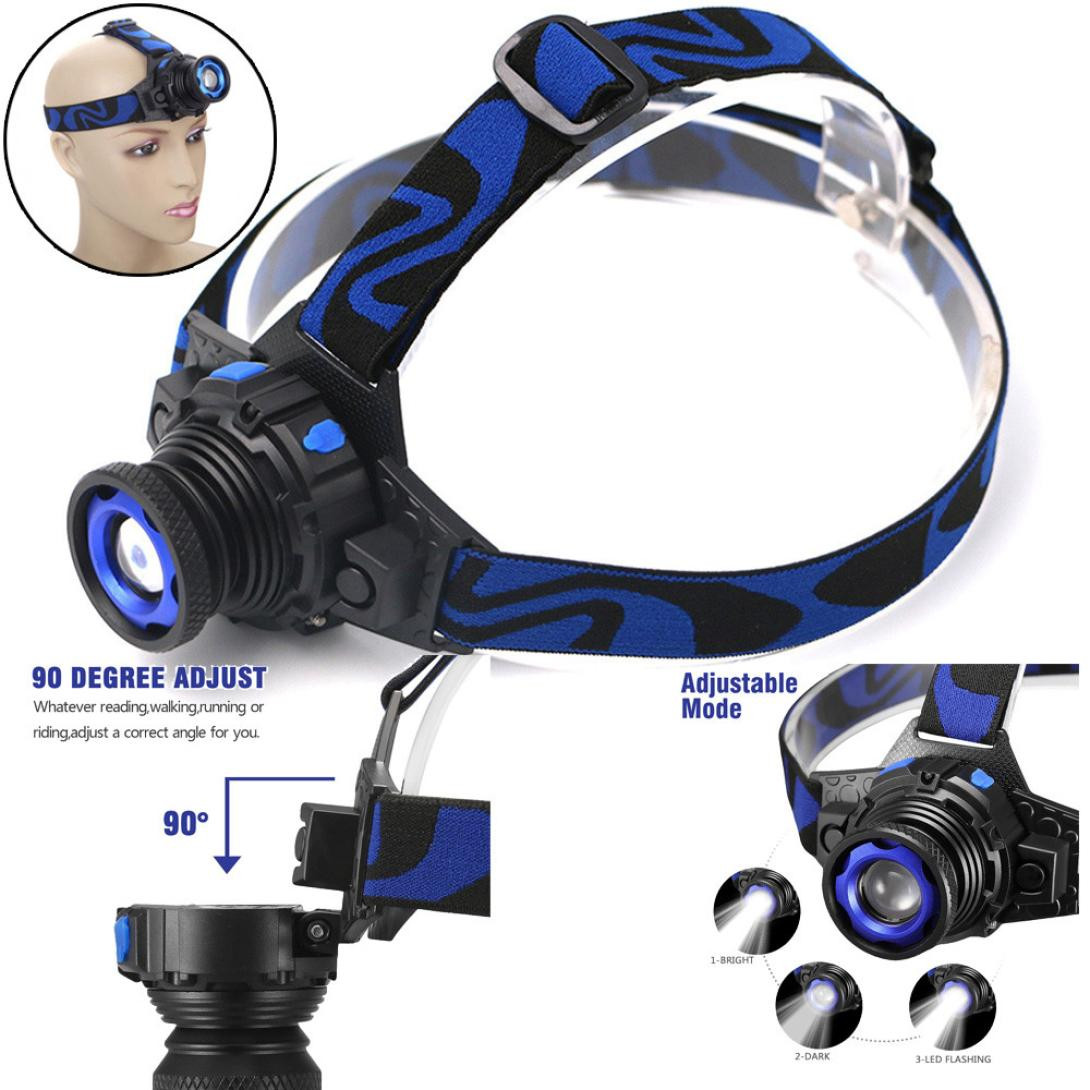 Hot Ultra bright Tactical Headlight Rechargeable 1000LM XPE LED adjusted Headlamp+Batt+Charger 3 modes Durable aluminum alloy zk