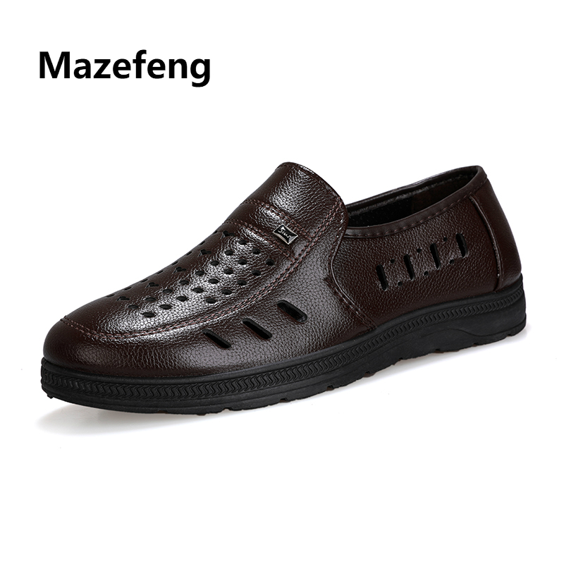 Mazefeng 2018 New Summer Men Leather Casual Shoes Simple Men Work Shoes Solid Male Hollow Out Shoes Slip-on Business Breathable mazefeng new fashion 2018 spring autumn men dress shoes business male leather shoes solid color men work shoes slip on round toe