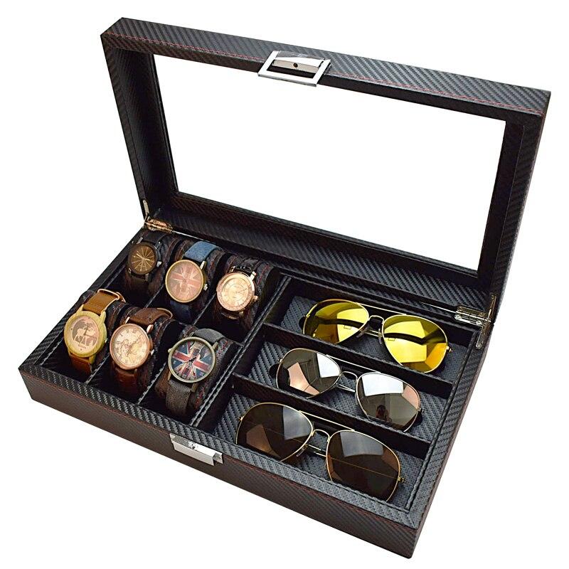 Boîtier de montre boîte de rangement boîte de lunettes de soleil boîte de Collection de bijoux montre Bracelet comptoir présentoir boîtier de montre