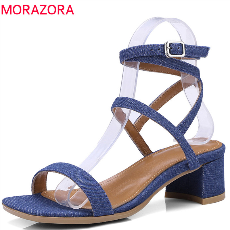 MORAZORA 2018 new arrival women sandals simple buckle summer shoes fashion solid color party wedding shoes sexy high heels shoes