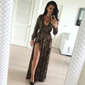 Europe Summer Style 2016 New Women Dress V-neck Long Dress Sexy nightclub Split Leopard Print Maxi Dress Vestidos Plus Size