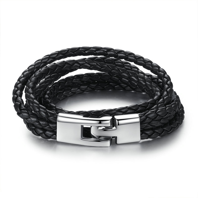 Fashion Leather Bracelet Wide Retro Black & Brown Color Chain Bracelets for Men & Women Jewelry pulseras