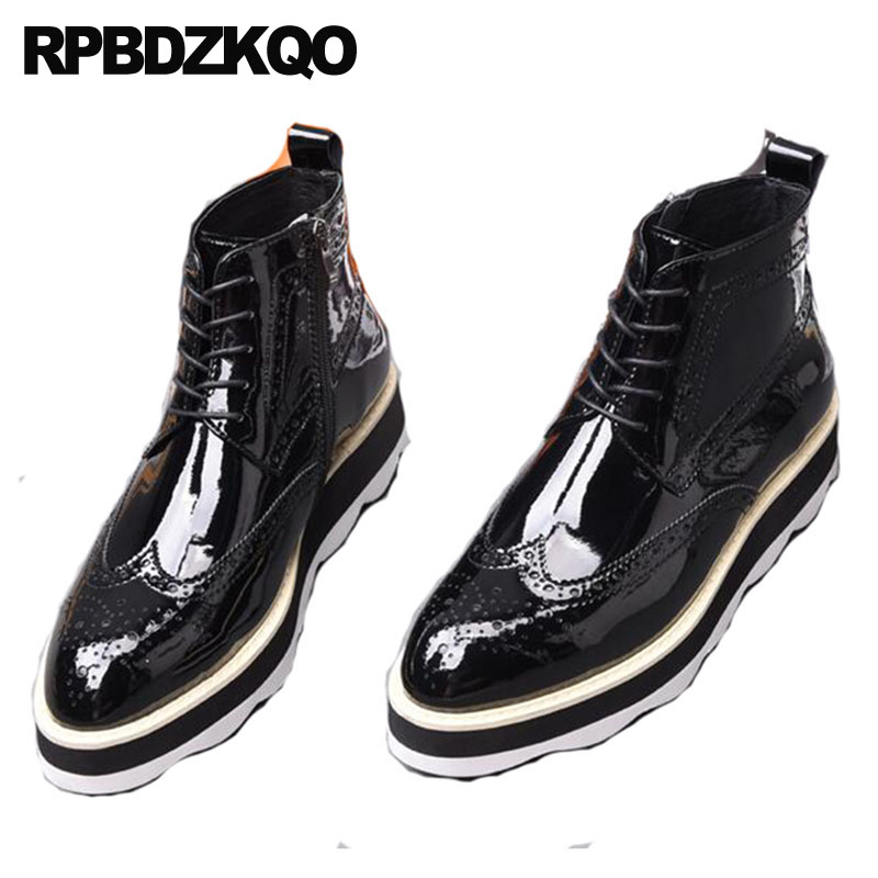 Brogue Ankle High Sole Oxford Platform Dress Shoes Pointed Toe Booties Thick Soled Mens Black Patent Leather Boots Wedge Wingtip стоимость