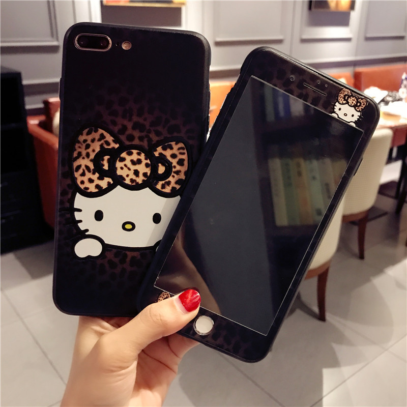 Pour iPhone 7 7 Plus KT Cas + Écran En Verre Trempé film, Leopard Bonjour Kitty TPU Couverture pour iPhone 6 6 S 6 SPlus 8 8 plus Kitty cas