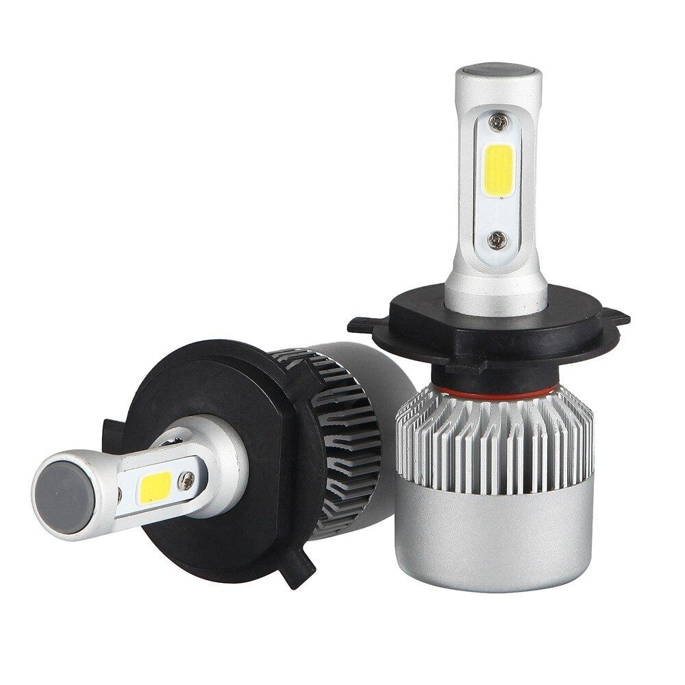 2pcs H4 HB2 9003 Car COB LED Conversion Headlight Bulb Kit High Low Beam 360 Degree 72W 7200LM 6500K DC 12V 24V