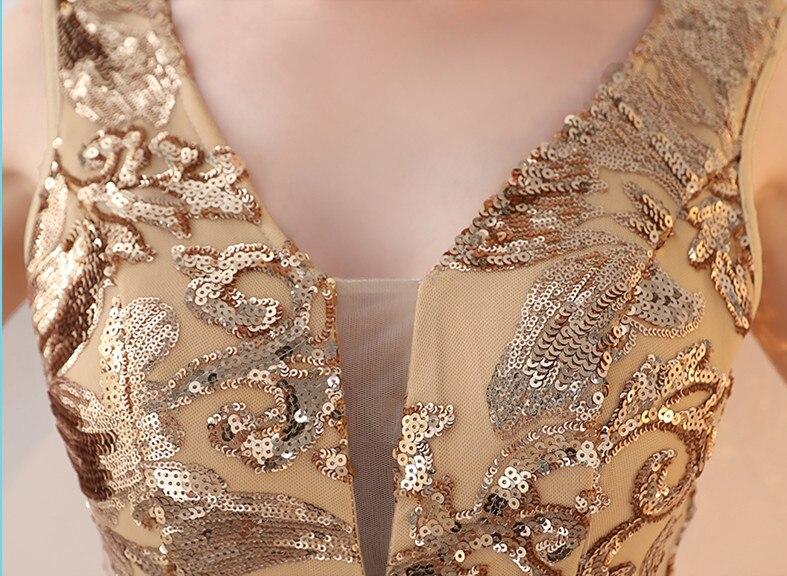 Robe De soirée sirène en or longue 2019 paillettes Robe De bal Elie Saab robes à col en V Robe De soirée - 6