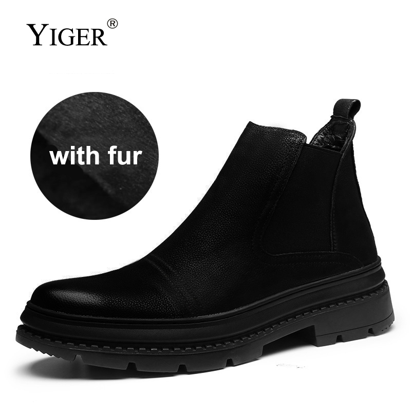 YIGER New Men Chelsea Boots Genuine Leather Man Ankle boots Winter with fur Slip-on Martin boots male casual shoes black 0200 цены