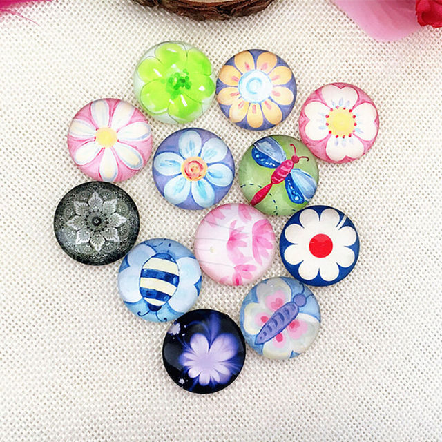 100pcs 18/20/25mm Small Flower Round Glass Cabochon Domes Flat back Glass beads Jewelry Finding Cameo Pendant Settings