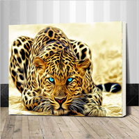 Assembly Frame Leopard Animals DIY Painting By Numbers Acrylic Picture Hand Painted Oil Painting On Canvas