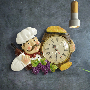 Image 3 - Resin Chef Cute Wall Clock Home Watch Bathroom Kitchen Clock vintage Wall Watches Home Decor Wall Clock Modern Design