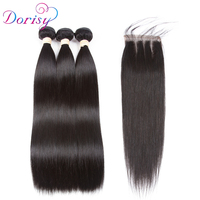 Dorisy Brazilian Straight Hair With Lace Closure 4x4 Free Part 4 Pcs Natural Color Non Remy