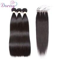 Dorisy Brazilian Straight Hair With Lace Closure 4x4 Free Part 4 Pcs Natural Color Non Remy