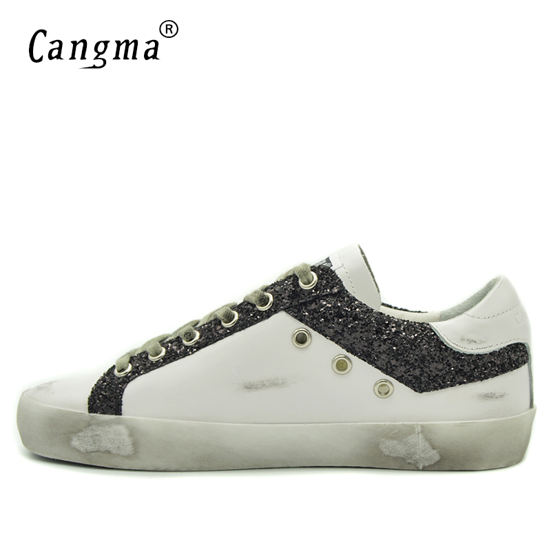 CANGMA White Sneakers Mens Casual Shoes Hot Sale Old Skool Genuine Leather  Black Glitter Flats Male Shoe Social Footwear Trend-in Men s Casual Shoes  from ... 241753a5abd9