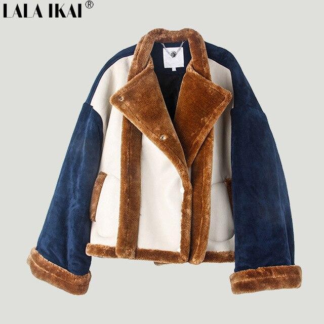 12f00867fe9 Brand Designer Winter PU Leather Lamb Woolen Bomber Jacket Women Patchwork  Turndown Collar Fur Jackets Coats Ladies Wholesale