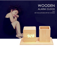 Voice Activated Wooden Alarm Clock Pen Container Office Desk Table Clocks Digital LED Modern 3 Sets Alarm Temp Intensity Control