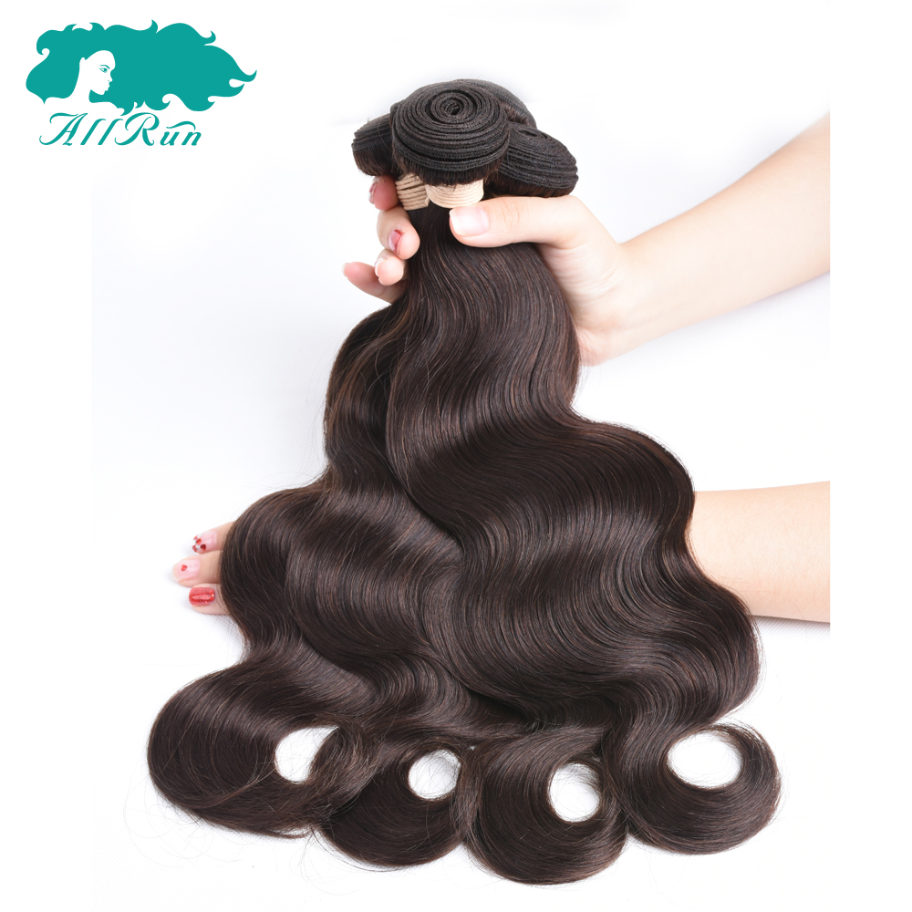 Allrun Pre-Colored Peruvian Body Wave 2# Dark Brown Non Remy Hair 4 Bundles one Pack 100% Human Hair Free Shipping