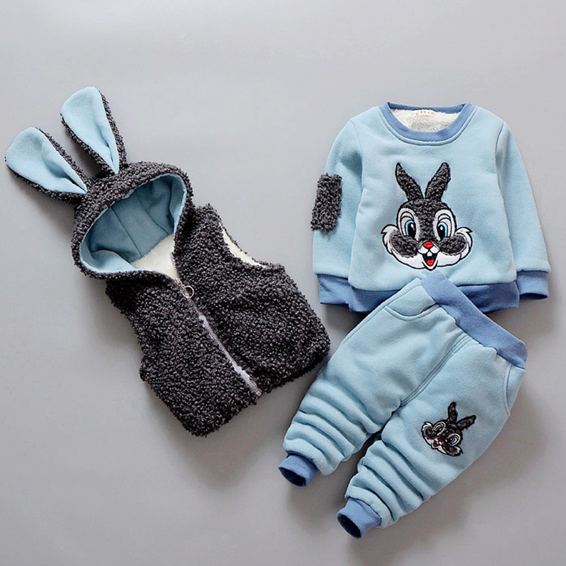 Kids Baby Girl Clothing Sets 3pcs Cartoon Rabbit 2018 Autumn Winter Children Clothes Vest+Long Sleeve Shirt+Pants Outfit Suits 3pcs baby boy clothing suits solid white shirt vest striped pants casual children party costumes kids spring autumn sets 088f