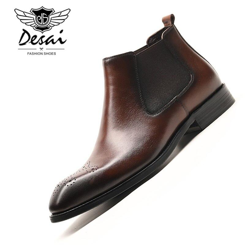 DESAI wysokiej jakości męskie wysokie buty prawdziwej skóry Chelsea Boot biznes sukienka buty brytyjski Slip on krótkie buty oksfordzie męskie w Buty sztyblety od Buty na  Grupa 1