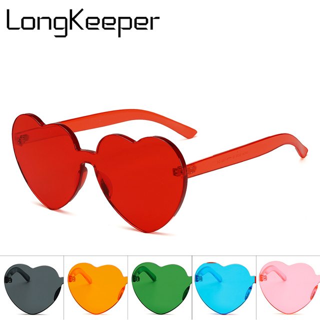 1f1f85b3e6 LongKeeper Love Heart Shaped Festival 90s Sunglasses Vintage Luxury 2018  Brand Designer Clear Sun Glasses gafas de sol mujer